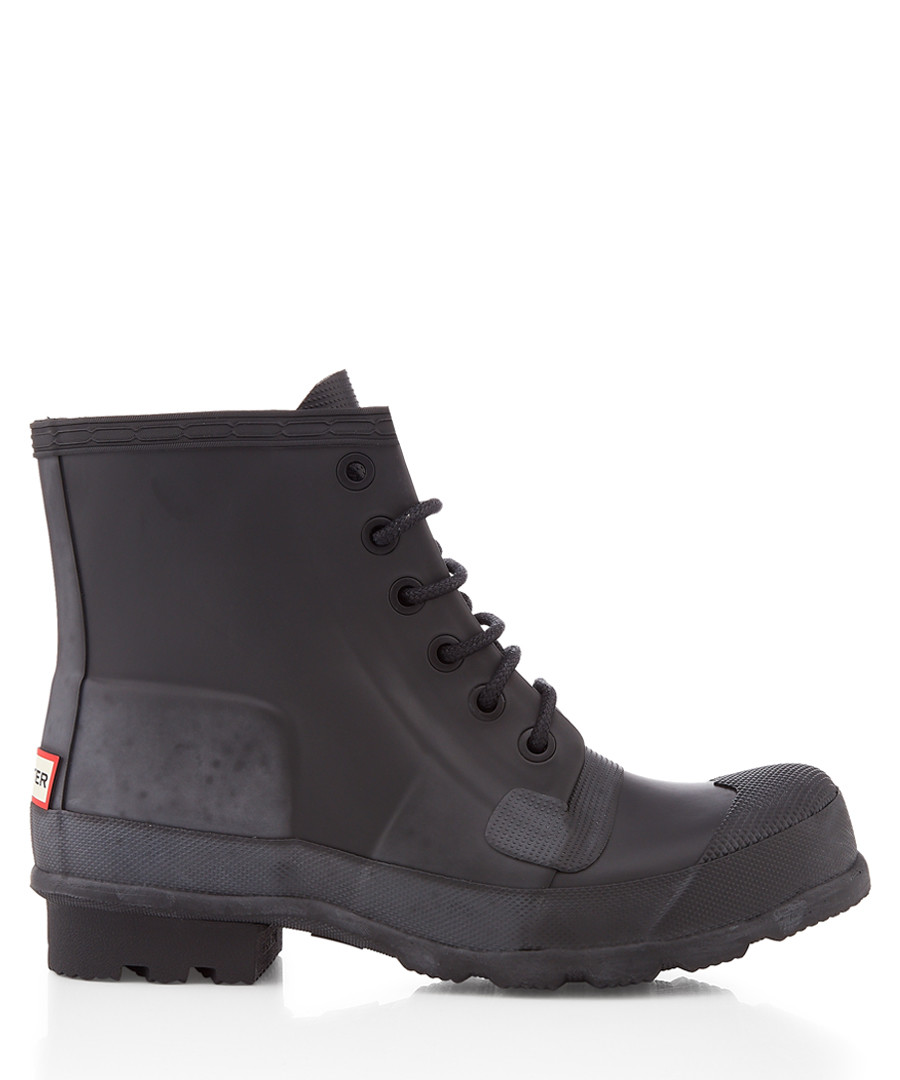 Black rubber lace-up boots Sale - hunter