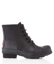 Black rubber lace-up boots