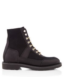 Black leather & suede lace-up boots