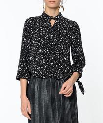 Black star cotton blend blouse