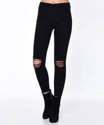Black cotton rip skinny jeans