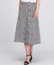 Black & white stripe floral midi skirt