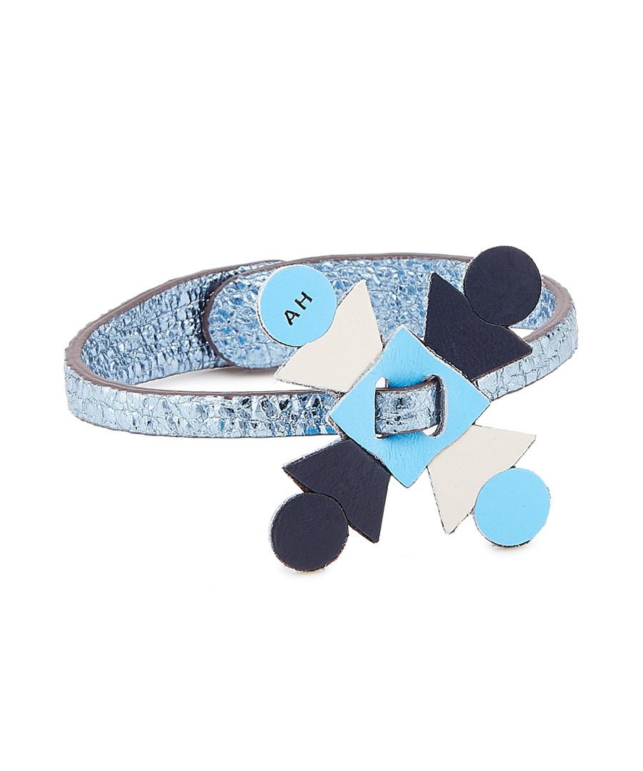 Prism metallic blue leather bracelet Sale - anya hindmarch