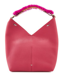Build A Bag magenta shearling strap bag