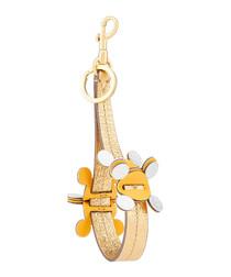 Circulus light gold leather key ring