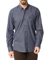 Blue wool blend long sleeve shirt