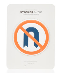 No U Turn silver leather sticker