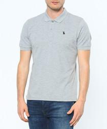 Grey cotton blend polo shirt