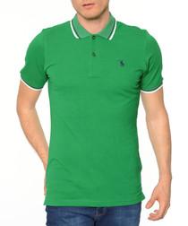 Green cotton blend stripe polo shirt