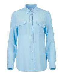 Powder blue pure silk blouse
