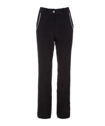 Lita black pure silk trousers