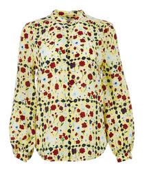 Cornelia chartreuse floral pure silk top