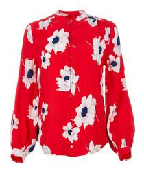 Cornelia red pure silk top
