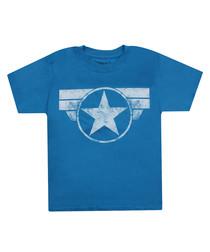kids' CAP LOGO blue cotton T-SHIRT