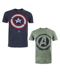 2pc men's grey cotton blend T-shirt set