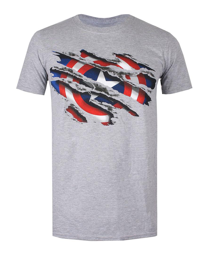 Men's Torn Shield grey heather T-shirt Sale - marvel