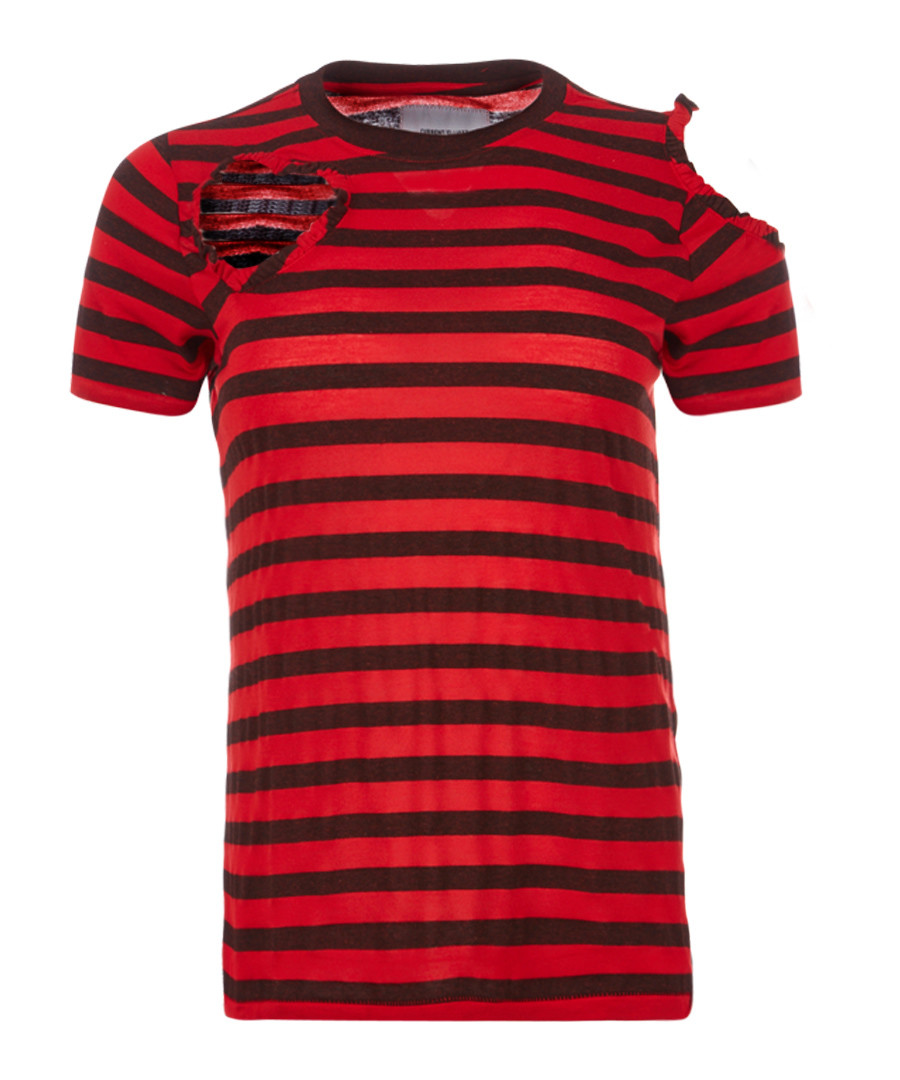 The Brittan red ripped stripe T-shirt Sale - current elliot