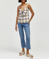 Neutral check linen blend top