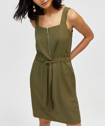 Khaki front-zip utility dress
