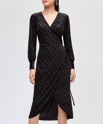 Black shimmer velvet wrap dress