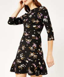 Molly black floral ponte dress