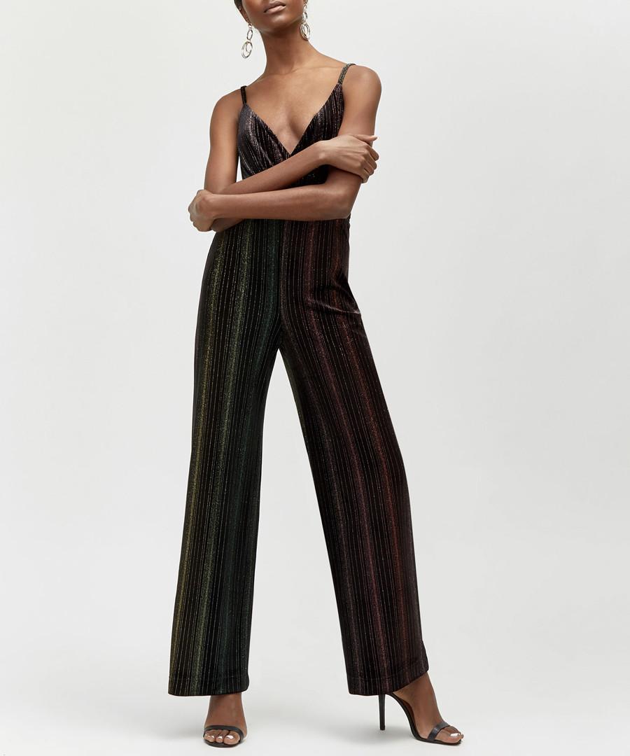Ombre black velvet strap jumpsuit Sale - warehouse