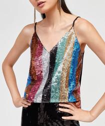 Rainbow sequin camisole