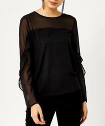 Black ruffle sheer sleeve top
