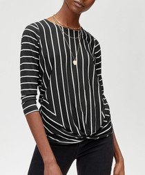 Black cotton blend stripe twist top