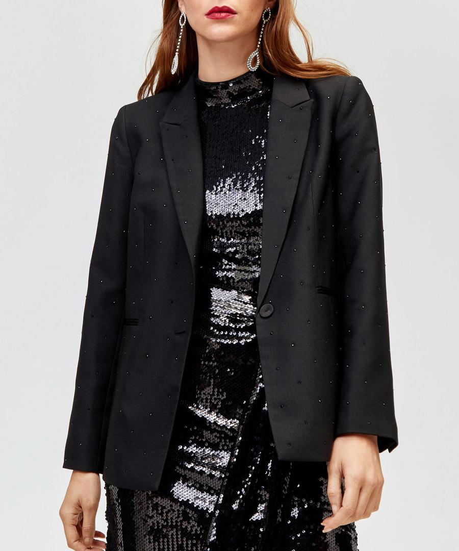 Rhinestone black one-button blazer Sale - warehouse
