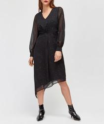 Black sheer layer asymmetric midi dress