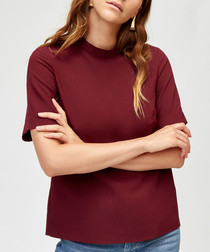 Wine high neck short sleeve top