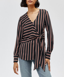 Black & brown stripe wrap top