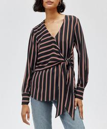 Black & brown stripe wrap top