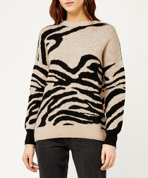 Natural & black zebra print jumper