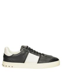 Black & white leather stripe sneakers