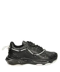 Bounce black leather splatter sneakers