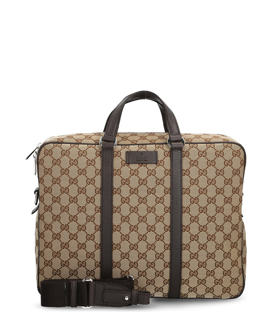 Beige & brown canvas messenger bag Sale - gucci