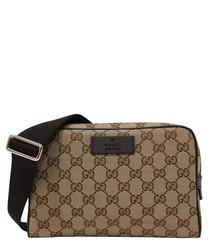 Beige & brown canvas waist bag
