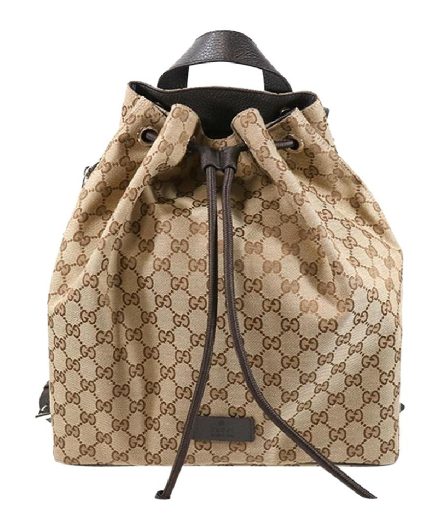 GG Beige & brown canvas backpack Sale - gucci