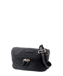 Black nylon tiled waist bag