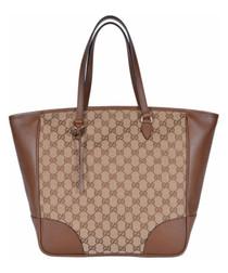 Beige & brown canvas shopper bag
