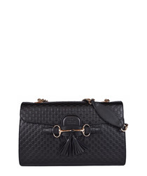 Guccissima Emily black leather crossbody