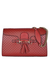 Guccissima Emily red leather crossbody