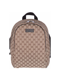 Beige & brown canvas backpack