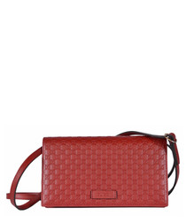 Guccissima red leather crossbody bag