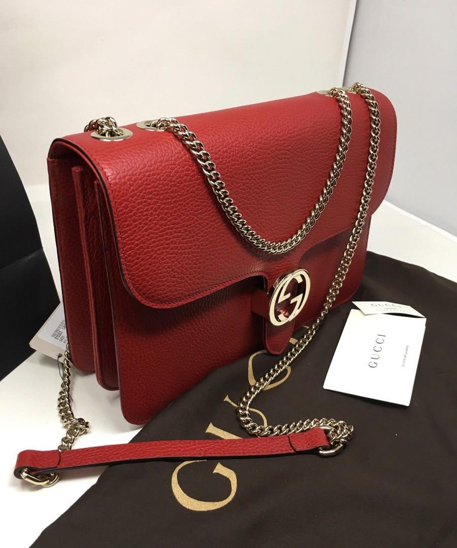 Interlocking red leather crossbody bag Sale - gucci
