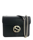 Interlocking black leather crossbody bag Sale - gucci Sale