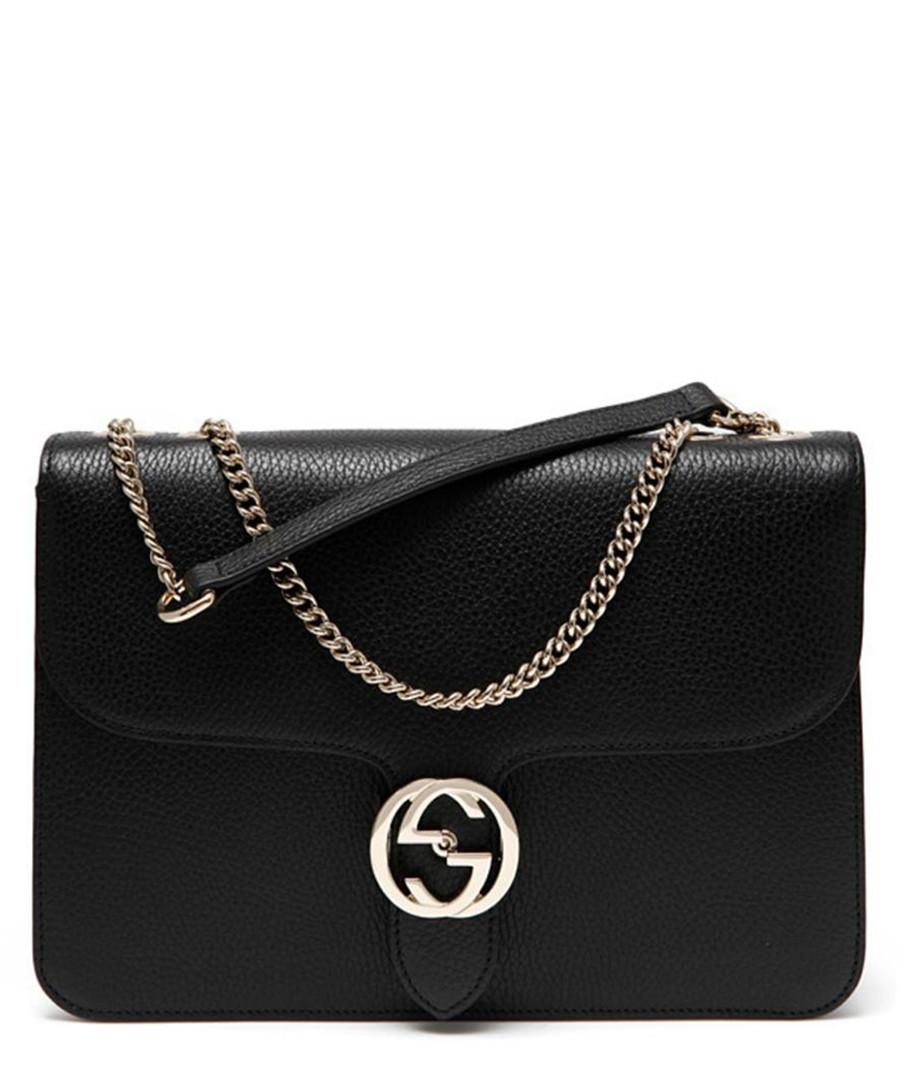 Interlocking black leather crossbody bag Sale - gucci