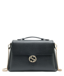 Interlocking black leather crossbody bag